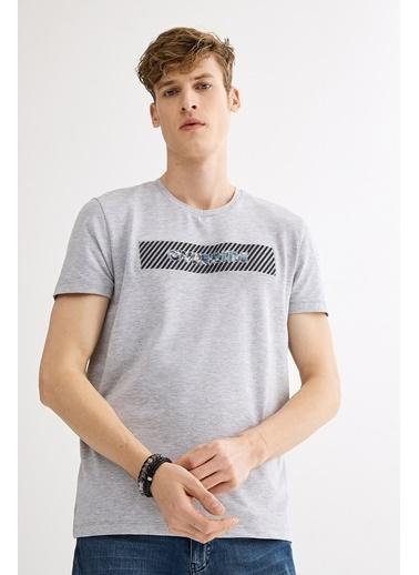 Avva Erkek  V Yaka Gofret Baskılı Tişört A01Y1024 Gri